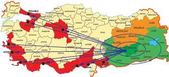 المسافة بين المدن التركية
